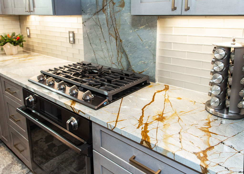Custom Blue Roma Quartzite Kitchen Countertops