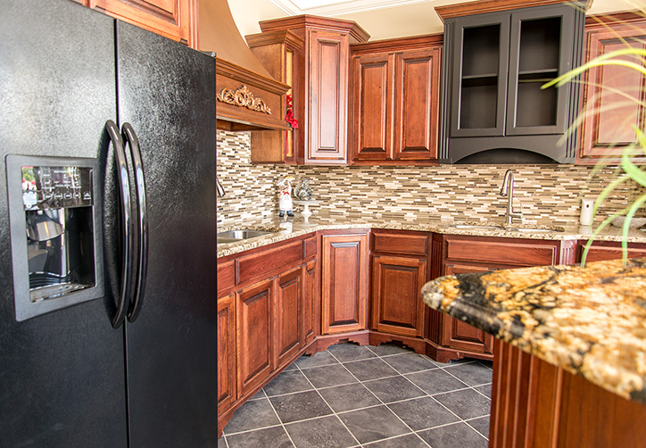 Ornamental Granite Countertops Matched With Gold Crystal Granite Island  Top, Stone Radiance Tile Backsplash And